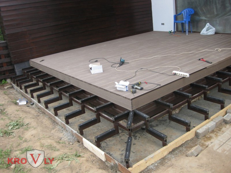 Монтаж террасной доски дпк на столбчатое основание из лаг
